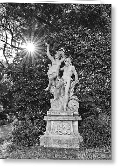 Burst Greeting Cards - Classic statue with sunburst at the North Vista Lawn of the Huntington Library. Greeting Card by Jamie Pham