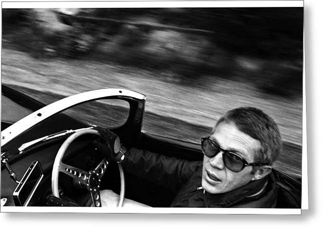 Film Noir Digital Greeting Cards - Classic Steve McQueen Photo Driving Jaguar XK SS Greeting Card by Nomad Art And  Design