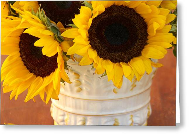 Bouquet Of Sunflowers Greeting Cards - Classic Sunflowers Greeting Card by Art Block Collections