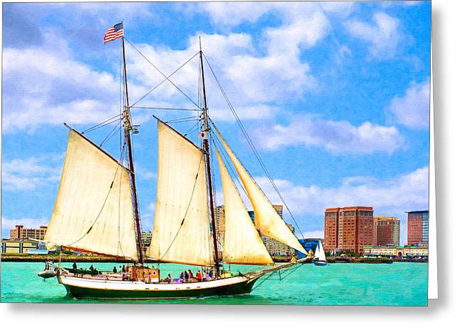 Recently Sold -  - Schooner Greeting Cards - Classic Tall Ship In Boston Harbor Greeting Card by Mark Tisdale