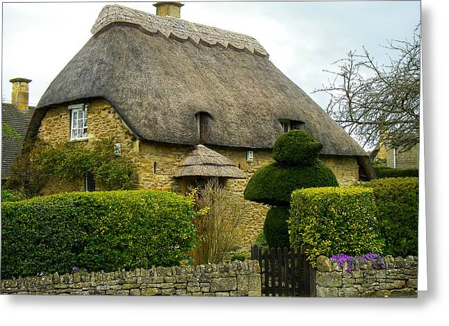 Geobob Greeting Cards - Classic Thatch Roofed House Cotswold District England Greeting Card by Robert Ford