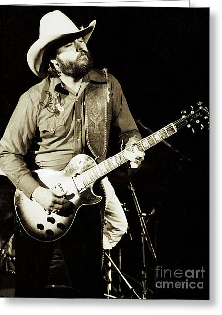 80s Greeting Cards - Classic Toy Caldwell of The Marshall Tucker Band at The Cow Palace-New Years Concert  Greeting Card by Daniel Larsen