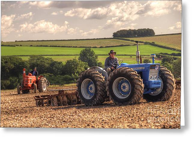 Harrow Greeting Cards - Classic Tractors at work  Greeting Card by Rob Hawkins