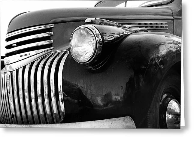 Oklahoman Greeting Cards - Classic Truck Grill black and white photograph Greeting Card by Ann Powell