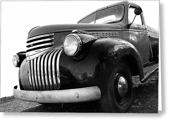 Old Truck Photography Greeting Cards - Classic Truck in Black and White Greeting Card by Ann Powell