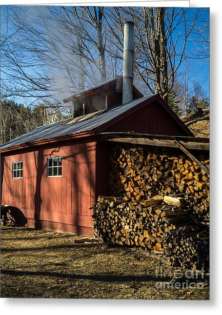 Shed Greeting Cards - Classic Vermont Maple Sugar Shack Greeting Card by Edward Fielding