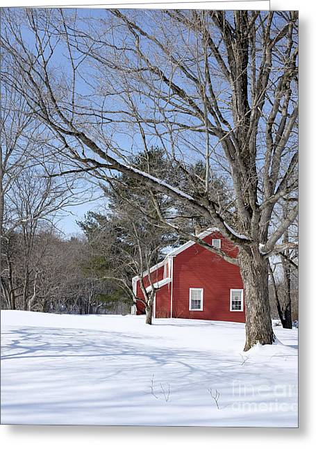 Clapboard House Greeting Cards - Classic Vermont red house in winter Greeting Card by Edward Fielding