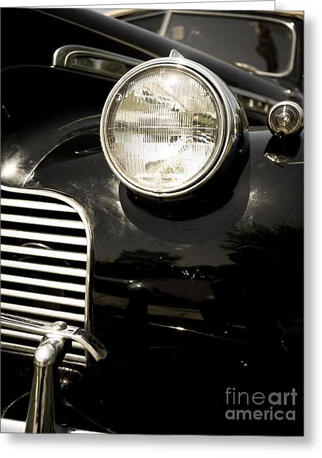 Timer Greeting Cards - Classic Vintage Car Black and White Greeting Card by Edward Fielding
