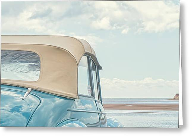 Princes Greeting Cards - Classic Vintage Morris Minor 1000 Convertible at the beach Greeting Card by Edward Fielding