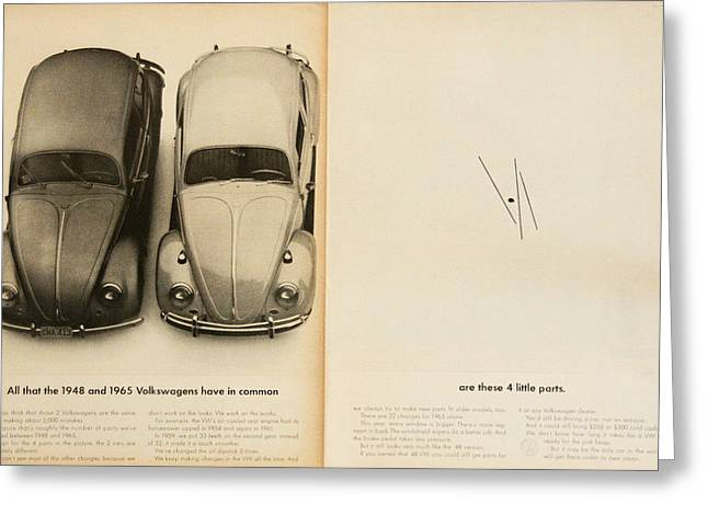 Vw Beetle Greeting Cards - Classic Volkswagen Beetle Vintage Advert Greeting Card by Nomad Art And  Design