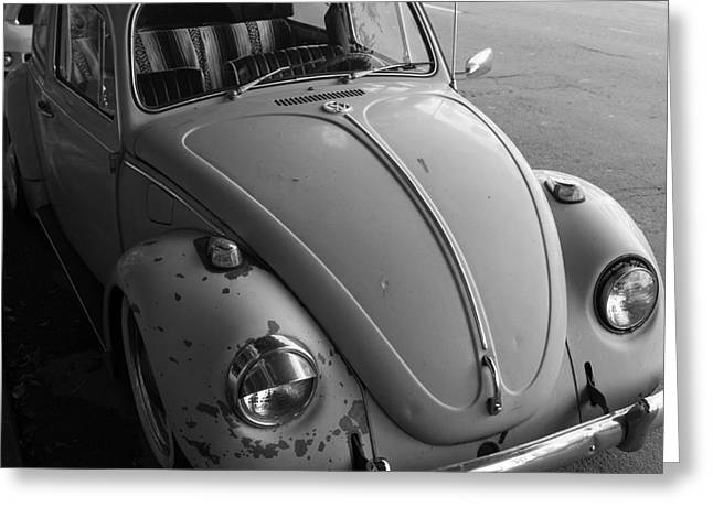Hippie Volkswagon Greeting Cards - Classic Volkswagon Bug DSC1201 Black and White Square Greeting Card by Wingsdomain Art and Photography