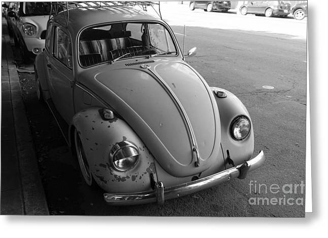 Hippie Volkswagon Greeting Cards - Classic Volkswagon Bug DSC1201 Black and White Greeting Card by Wingsdomain Art and Photography