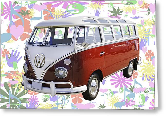 Oldtimer Greeting Cards - Classic VW 21 window Mini Bus Greeting Card by Keith Webber Jr