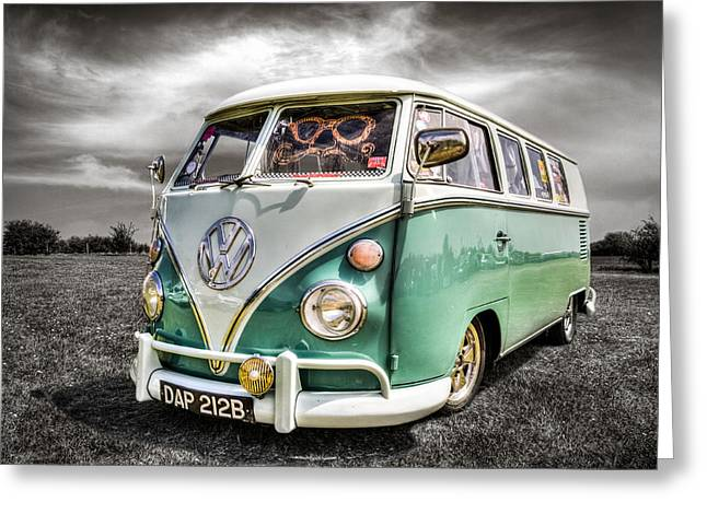 Campervan Greeting Cards - Classic VW Camper Van Greeting Card by Ian Hufton