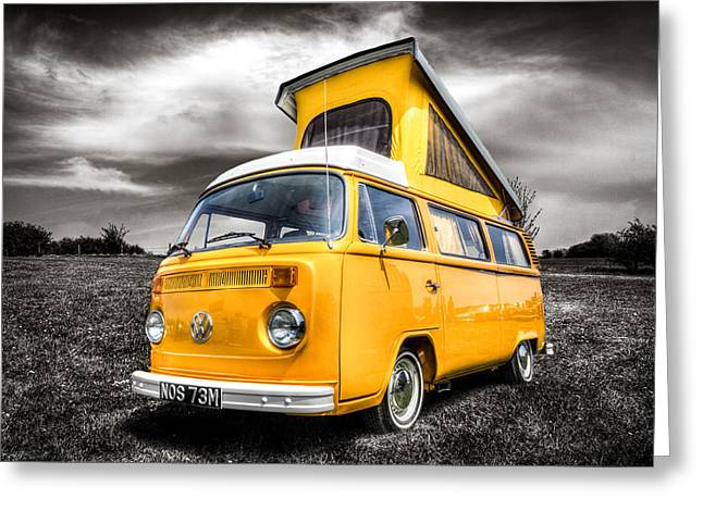 Campervan Greeting Cards - Classic VW campervan Greeting Card by Ian Hufton