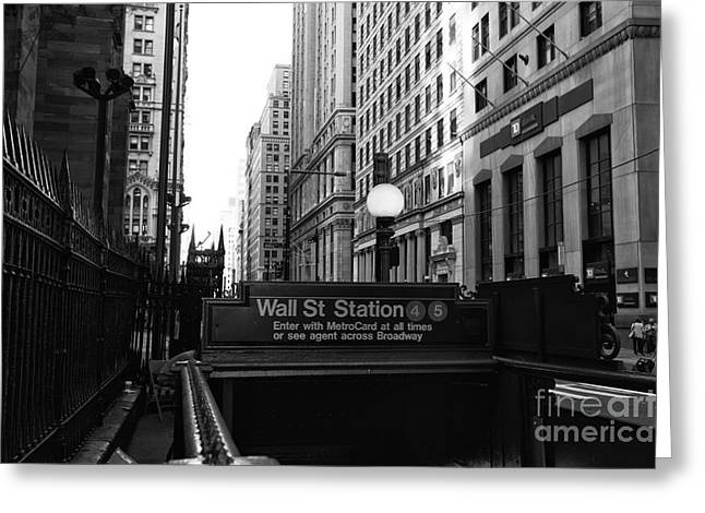 Broadway St Greeting Cards - Classic Wall Street mono Greeting Card by John Rizzuto