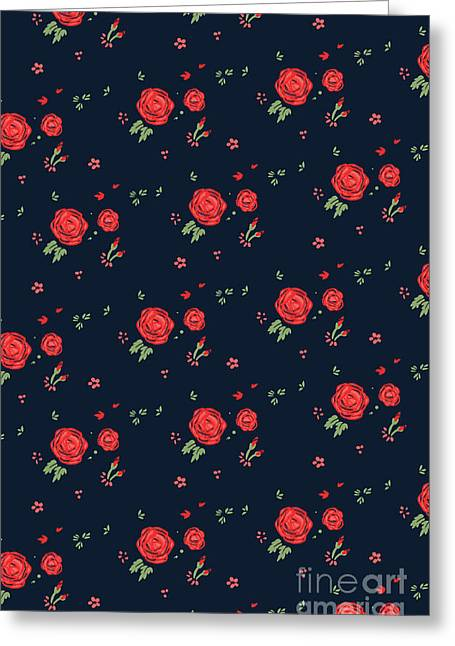 Rustic Digital Greeting Cards - Classic western rose pattern Greeting Card by Budi Kwan