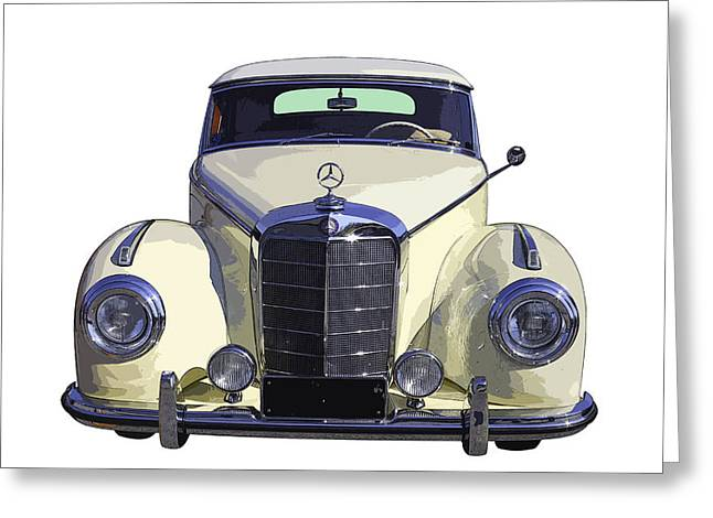 Restored Greeting Cards - Classic White Mercedes Benz 300  Greeting Card by Keith Webber Jr