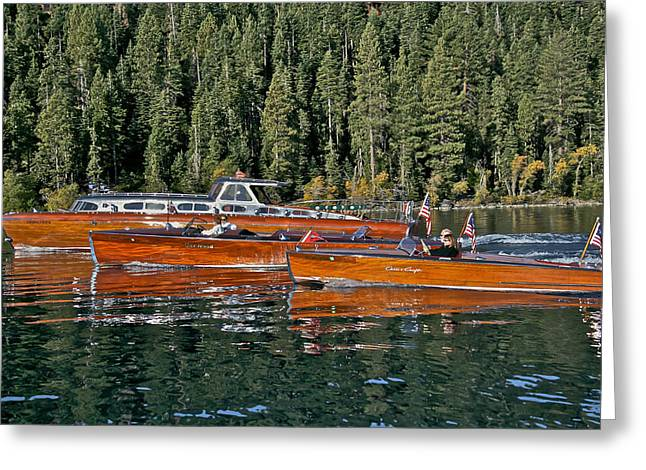 Mahogany Greeting Cards - Classic Wooden Boats at Lake Tahoe Greeting Card by Steven Lapkin