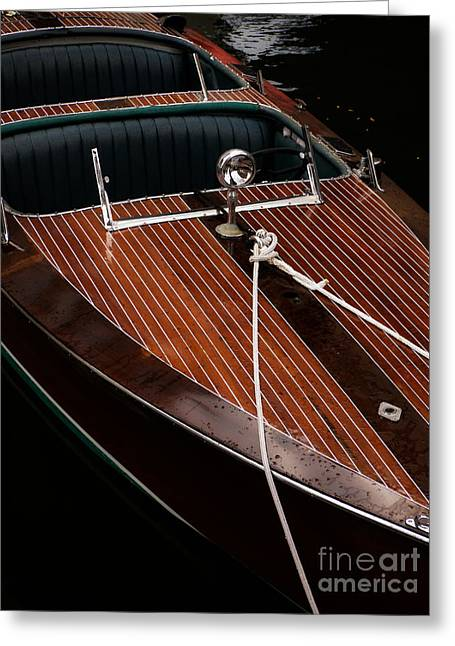 Wealthy Greeting Cards - Classic Wooden Power Boat Greeting Card by Edward Fielding