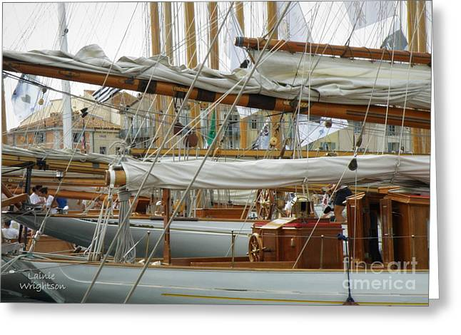 St.tropez Greeting Cards - Classic Wooden Sail Boats Greeting Card by Lainie Wrightson