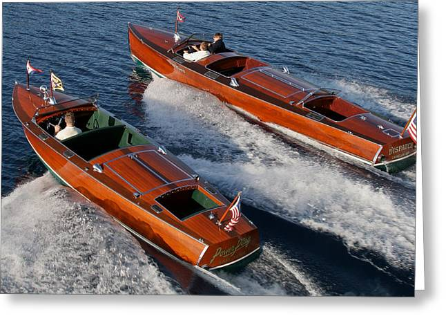 Mahogany Greeting Cards - Classic Wooden Speedboats Greeting Card by Steven Lapkin