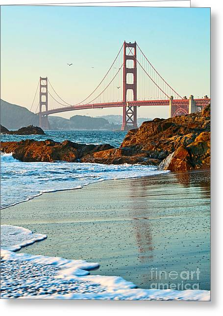 Surf City Greeting Cards - Classic - World famous Golden Gate Bridge with a scenic beach and birds. Greeting Card by Jamie Pham