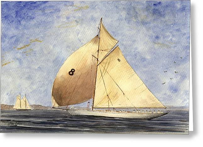 Barcelona Paintings Greeting Cards - Classic yacht Barcelona Greeting Card by Juan  Bosco