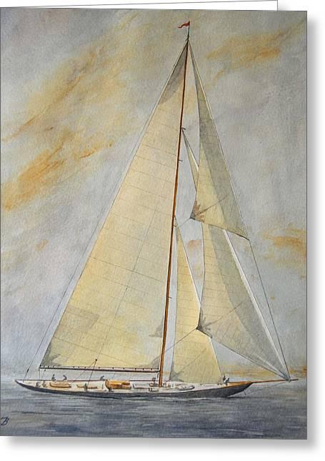 Original Watercolor Greeting Cards - Classic Yacht Greeting Card by Juan  Bosco