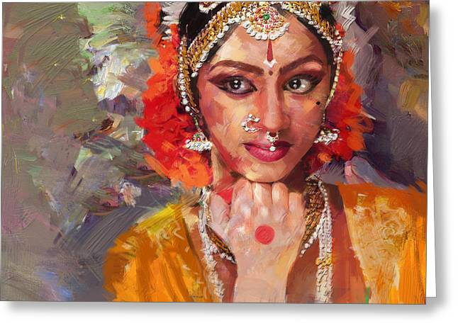 Classical Dance Art 1 Greeting Card by Maryam Mughal
