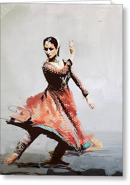 Sufi Dancer Greeting Cards - Classical Dance Art 11 Greeting Card by Maryam Mughal