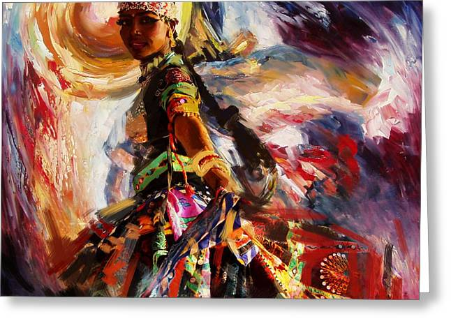 Sufi Dancer Greeting Cards - Classical Dance Art 13 Greeting Card by Maryam Mughal
