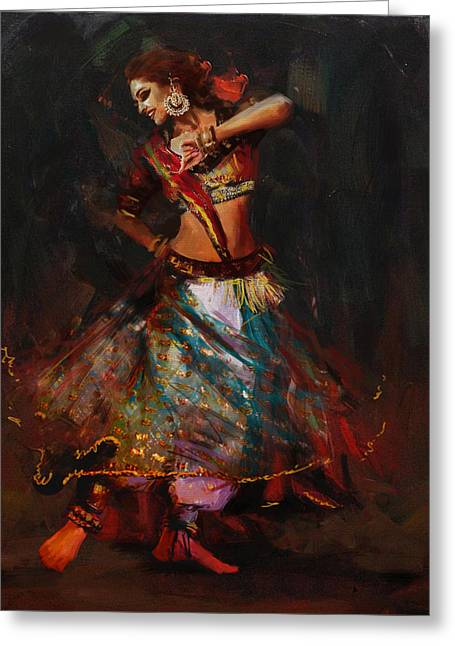 Sufi Dancer Greeting Cards - Classical Dance Art 15B Greeting Card by Maryam Mughal