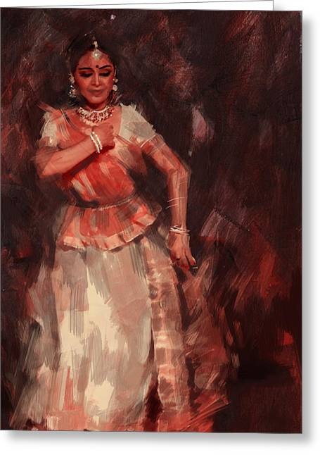 Dancer Art Greeting Cards - Classical Dance Art 18B Greeting Card by Maryam Mughal