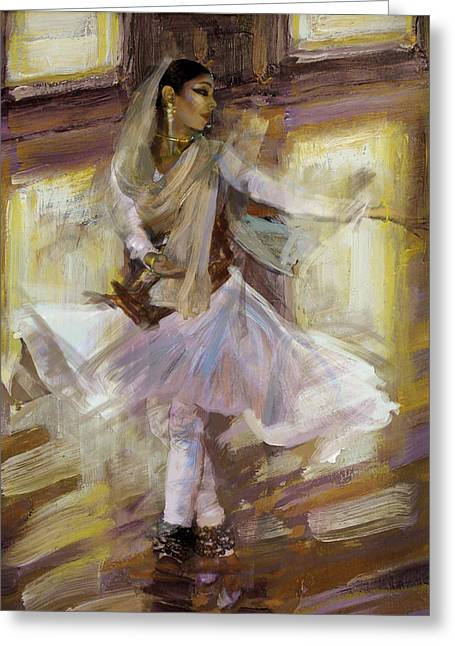 Sufi Dancer Greeting Cards - Classical Dance Art 4B Greeting Card by Maryam Mughal