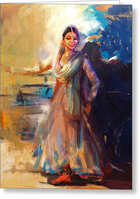 Sufi Dancer Greeting Cards - Classical Dance Art 5 Greeting Card by Maryam Mughal