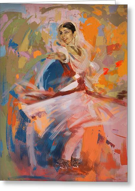 Indian Women Greeting Cards - Classical Dance Art 6 Greeting Card by Maryam Mughal