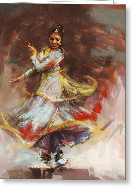 Sufi Dancer Greeting Cards - Classical Dance Art 8 Greeting Card by Maryam Mughal