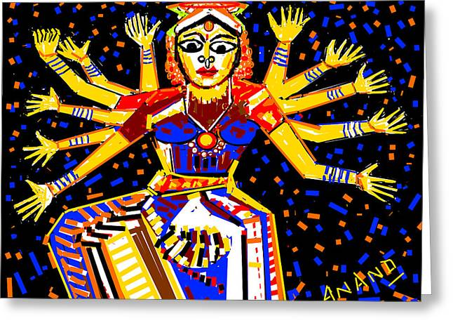 Classical Dancer Greeting Card by Anand Swaroop Manchiraju
