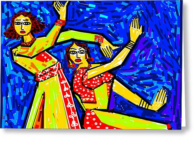 Classical Dancers Greeting Card by Anand Swaroop Manchiraju