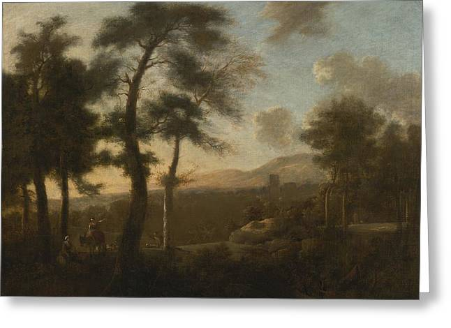 Landscape With Figure Greeting Cards - Classical French Landscape Greeting Card by Celestial Images