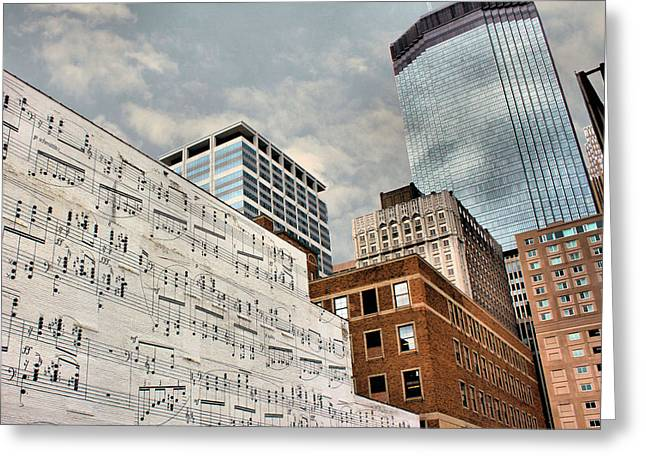 Brick Buildings Greeting Cards - Classical Graffiti Greeting Card by Kristin Elmquist