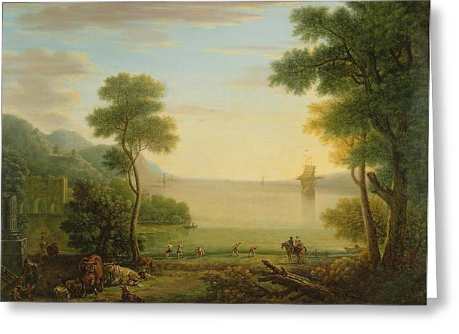 Arcadian Greeting Cards - Classical Landscape With Figures And Animals, Sunset, 1754 Oil On Canvas Greeting Card by John Wootton