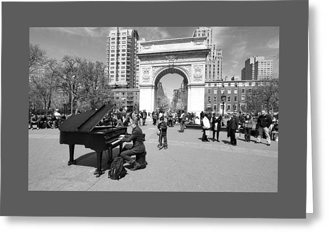 5th Ave Greeting Cards - Classical Piano in Washington Square Park Greeting Card by Allen Beatty