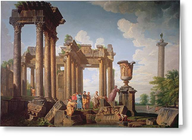 Ruins Greeting Cards - Classical Scene Greeting Card by Giovanni Paolo Pannini or Panini