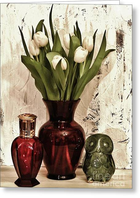 Ceramic Digital Greeting Cards - Classy Tulips Bouquet Greeting Card by Marsha Heiken