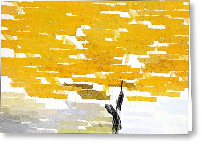Yellow And Gray Abstract Greeting Cards - Classy Yellow Tree Greeting Card by Lourry Legarde