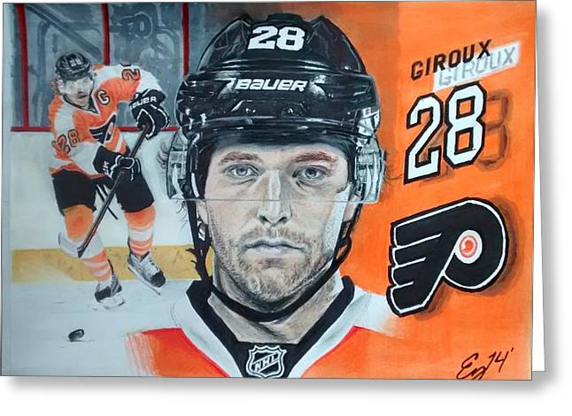 Bully Greeting Cards - Claude Giroux  Greeting Card by Ezra Strayer