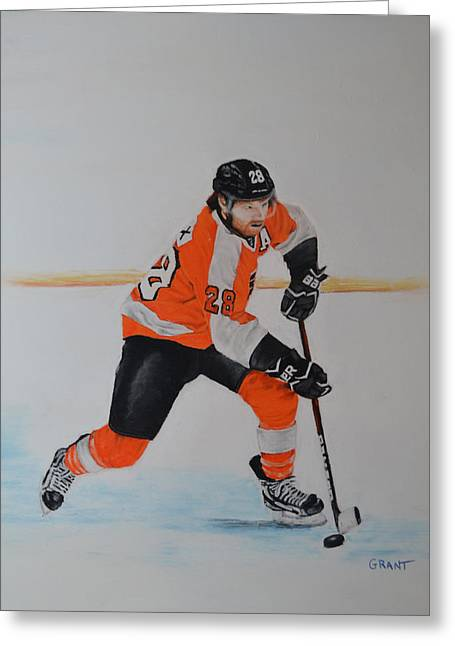 Flyer Pastels Greeting Cards - Claude Giroux Philadelphia Flyer Greeting Card by Joanne Grant