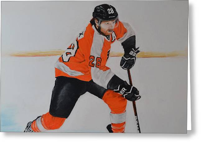 Claude Giroux Philadelphia Flyer Greeting Card by Joanne Grant